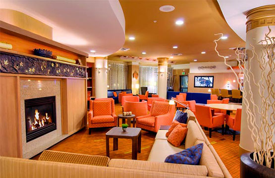Fireplace In Lounge At Courtyard By Marriott Hotel Middletown Ny
